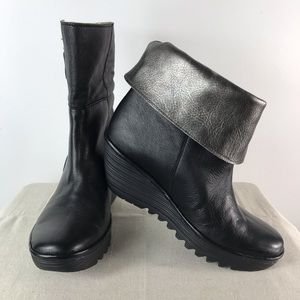 Fly London Yellow Yex668 Black Silver Booties